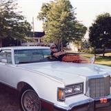 The artist, chillin' in da hood, on da hood... Main, USA 1990.