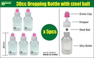 30cc Dropping Bottle with steel ball. 5 pcs.