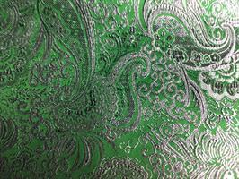 Stoff, Brokade med lurex, grønn