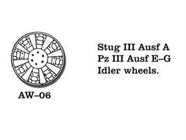 Stug. III Ausf A, Pz III Ausf E-G Idler wheels.