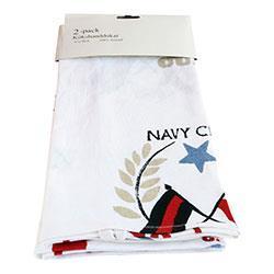 Kökshandduk 2-pack Vit Navy