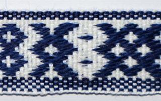 Inkabånd - Marine blå, hvit
