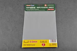 0,5mm plast plate, 2 stk, grå