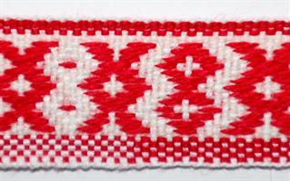 Inkabånd - Rød, hvit