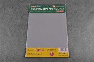 0,3mm plast plate, 2 stk, grå