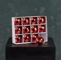 Glaskulor, 12-pack, röda med guldstjärnor