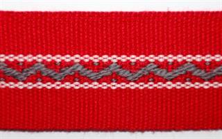 Damebånd - Rød, grå, hvit