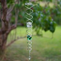 Vindspel spiral, grön+klar kula