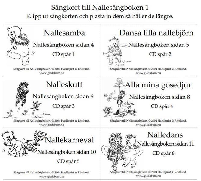 Sångkort till Nallesångboken