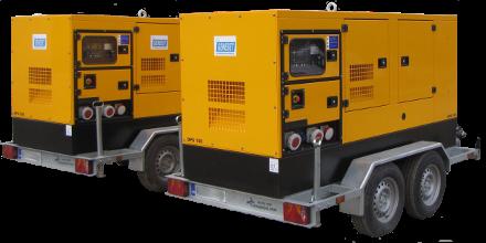 Äänieristetty dieselgeneraattori DPS100, peräkärrymalli.