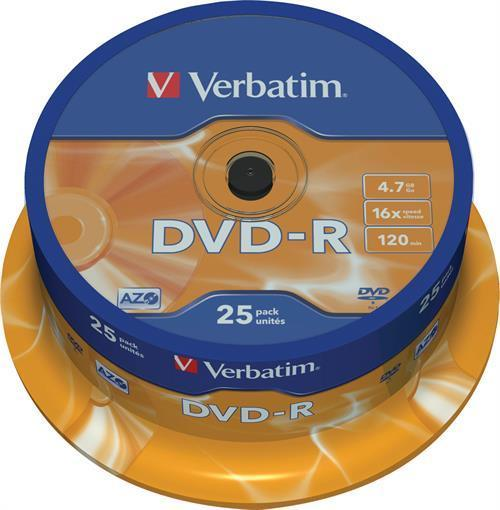 DVD-R MEDIA, VERBATIM 25-PACK