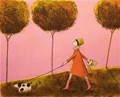 Tone Flesche-Walking the dog with happy look
