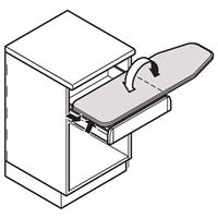 Vridbar STRYKBRÄDA för lådmontering i stomme 500-600mm
