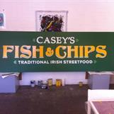 Handmålad skylt till Casey's Fish & Chips 2014. Handpainted sign for Casey's Fish & chips 2014.