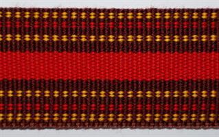 Herrebånd - Brun, gul og rød
