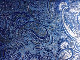 Stoff, Brokade med lurex,  blå