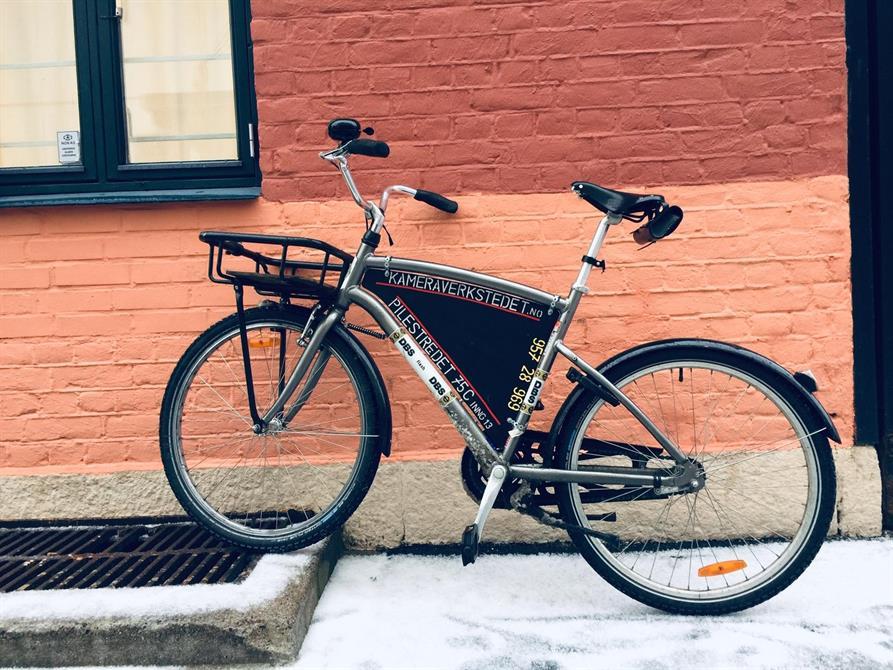 Vi bruker sykkel når vi er ute og henter service