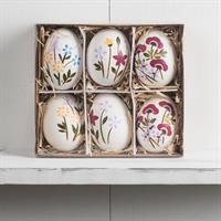 Ägg med hänge,  blomdekor, 6-pack