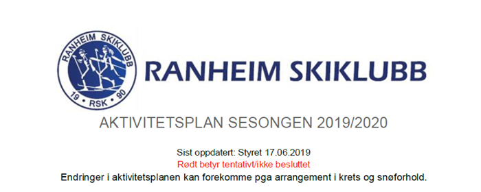 Aktivitetsplan sesongen 2019/2020