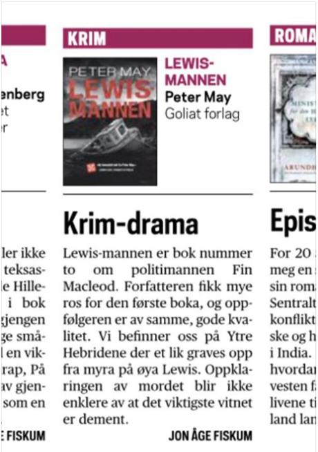 «Lewismannen» årets beste krimbok i Trønder-Avisa