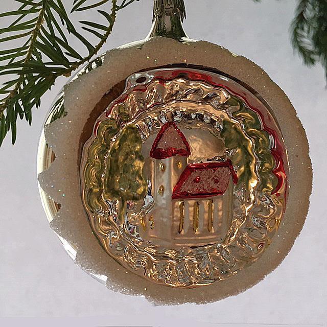 Julekule med refleks, kirkemotiv, 8 cm