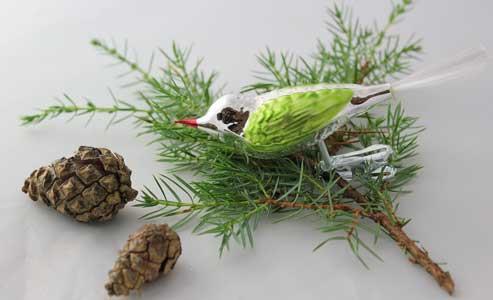 Fugl, sølv og kiwigrønn