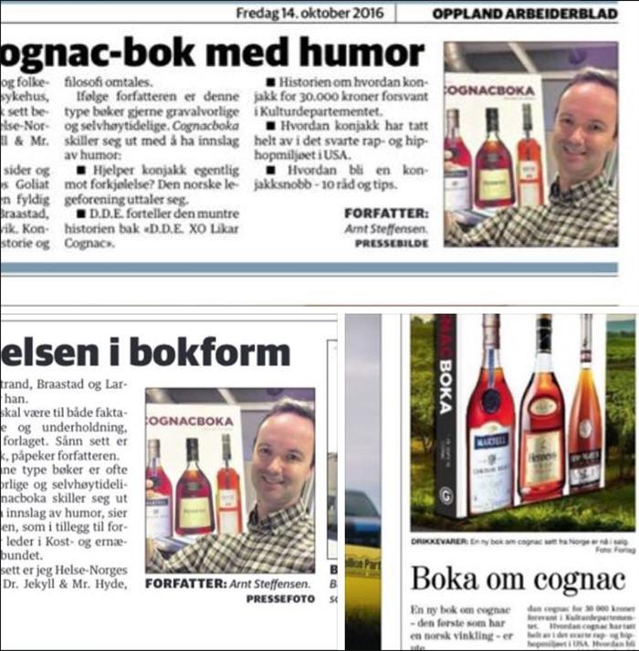 3 omtaler av Cognacboka i aviser