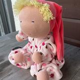 SÅLD!! Ljus-ljus rosa overall med lila, rosa och bruna prickar - rosa luva -  ca 30 cm lång, luvan 20 cm -- klicka för att beställa!