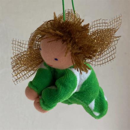 Stor skyddsängel i grön velour m kort ljusbrunt hår!