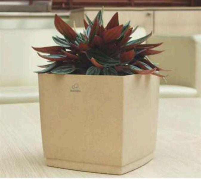 Hagsen fyrkantig blomkruka beige
