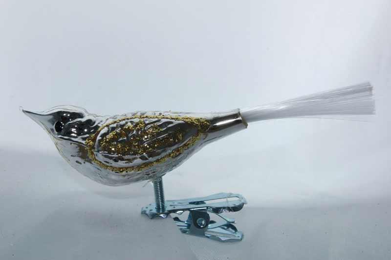 Fugl, sølv med gullglitter