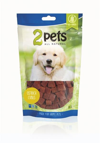 2 Pets Dogsnack Ostrich/Struts Cubes 100 g