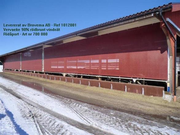 Vervaeke Ridåport i rödbrunt vindnät - 90% vindreduktion