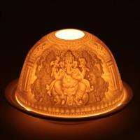 Ljuslykta i porslin Ganesh 11,5x7,8cm