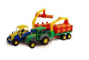 Traktor med timmersläp 58cm 12M+