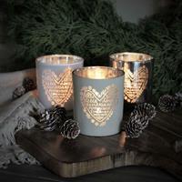 Majas julens hjärta lykta i silver