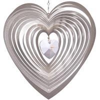 Hjärta runt med kristallhjärta 28 mm