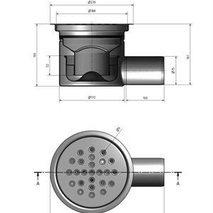 Golvbrunn 220 S 110 betong i rostfritt stål
