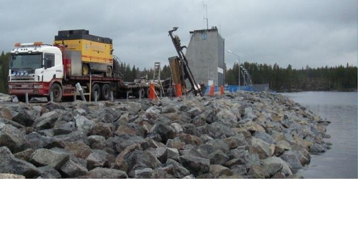 Borrning vid Hällby vattenkraftverk, Ångermanälven, utfördes 2008