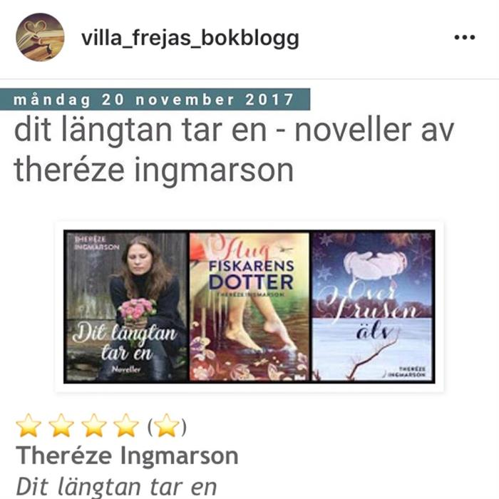 """Villa Frejas Bokblogg om """"Dit längtan tar en"""""""