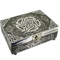 Tarot ask eller smyckeskrin Pentagram Silverfärgad