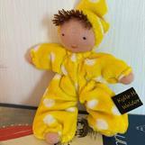 Fickdocka med luva, gul med brun lugg, klicka för att beställa!