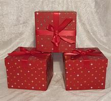 Röd kartong med rosett 14x14x11cm