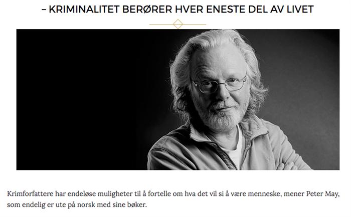 Intervju av Peter May på Norges største bokblogg