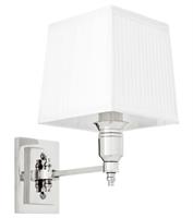 Vägglampa Lexington Single, krom (vit skärm)