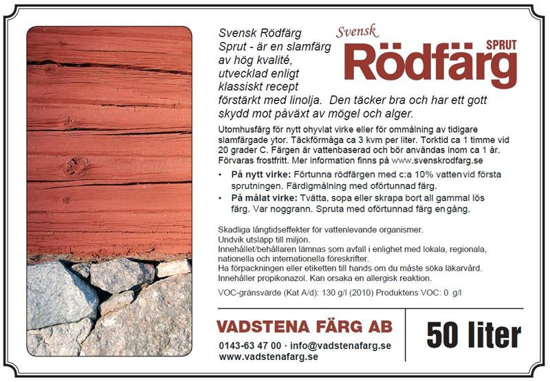 SVENSK RÖDFÄRG SPRUT 50 LIT