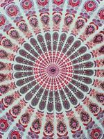 Mandala Peackock Dubbel  vit-lila-rosa