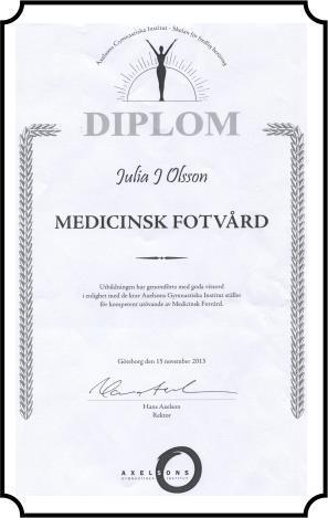 Julia J. Lilja på Medivalv AB är diplomerad i Medicinsk Fotvård