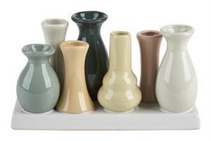 7 vaser på rad pastell