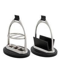 Skrivbordsset Marquise nickel/svart läder